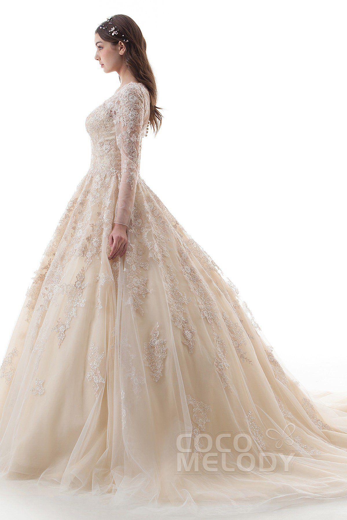Princess Court Train Lace Tulle Gothic Wedding Dress Ld4622