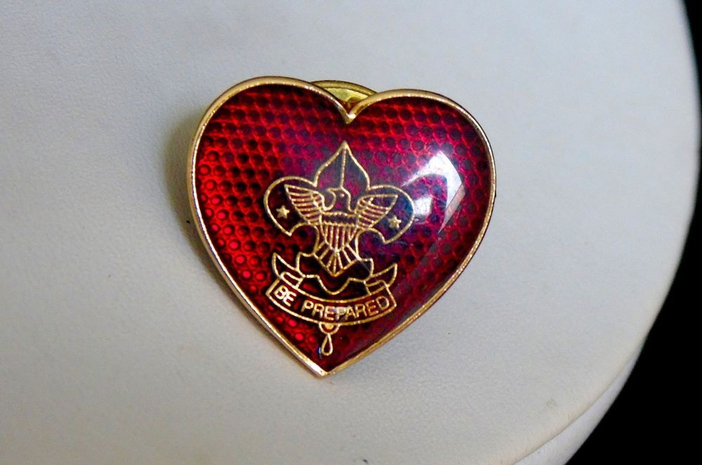 Vintage 1950's Boy Scouts of America Mother's Life Rank Red Guilloche Heart Pin