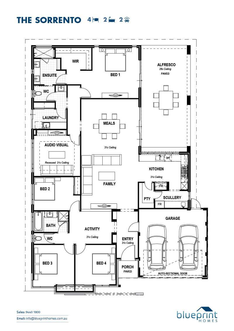 The Sorrento Perth Ex Display Home Blueprint Homes House Blueprints Floor Plans Skillion Roof