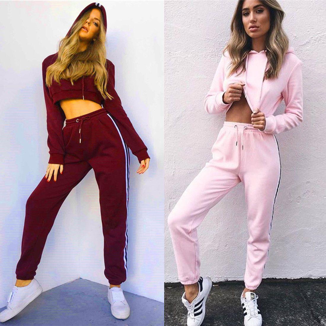 c12a96fa4 2Pcs Women Casual Sweatshirt Long Sleeve Hoodie Crop Top Track Pants Sports  Suit