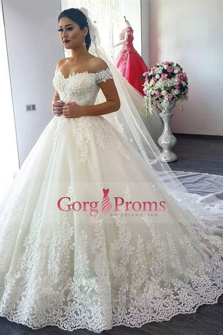 Wedding dresses with beading   Off The Shoulder A Line Wedding Dresses Tulle With Applique