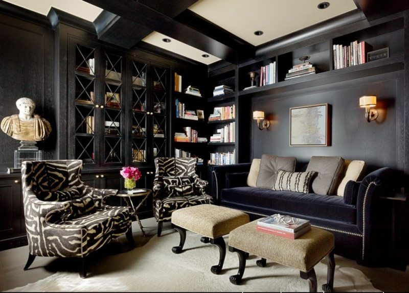 décoration intérieur salon style classique avec fauteuils zébrés ...