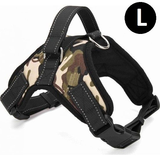 Large Heavy Duty Adjustable Dog Harness In Camo Dog Harness