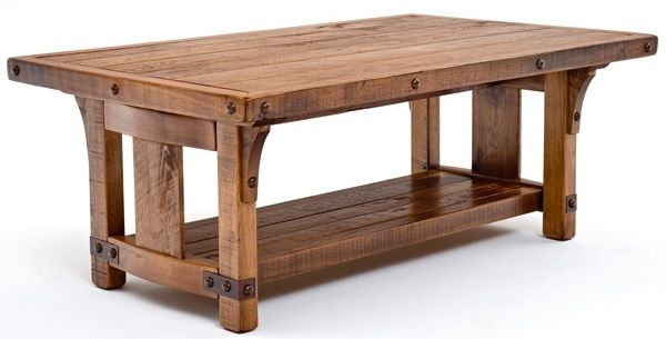 Bungalow coffee table features solid wood forged metal for Coffee table 48 x 30