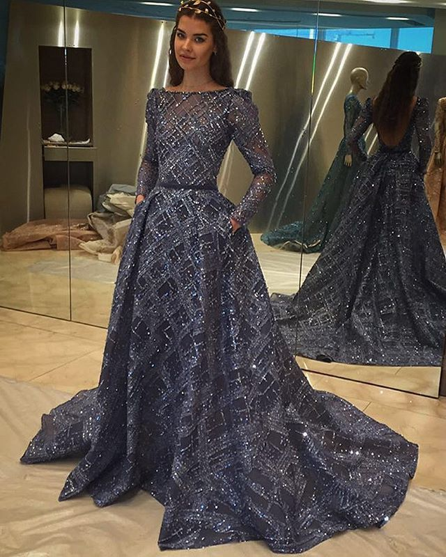 f0292139d444 Ziad Nakad glitter long sleeve dress
