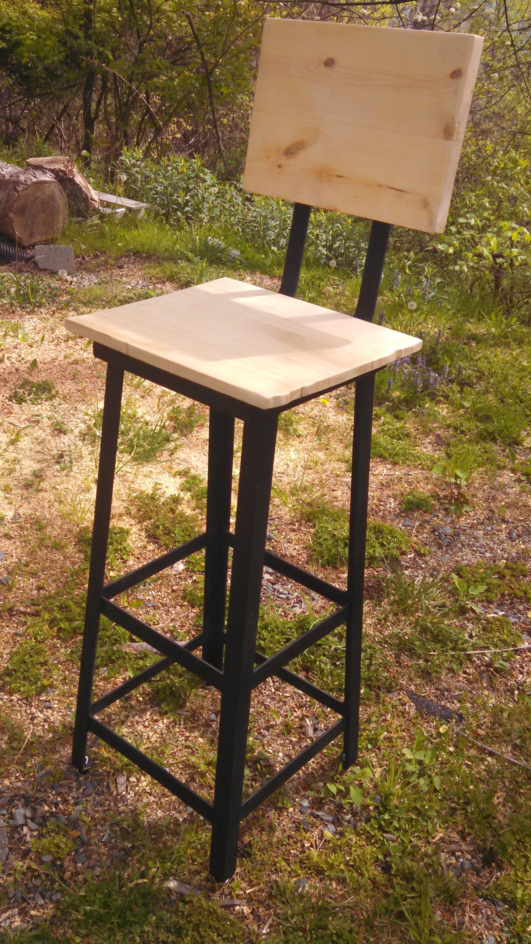 Custom Made Metal & Reclaimed Wood Bar Stool