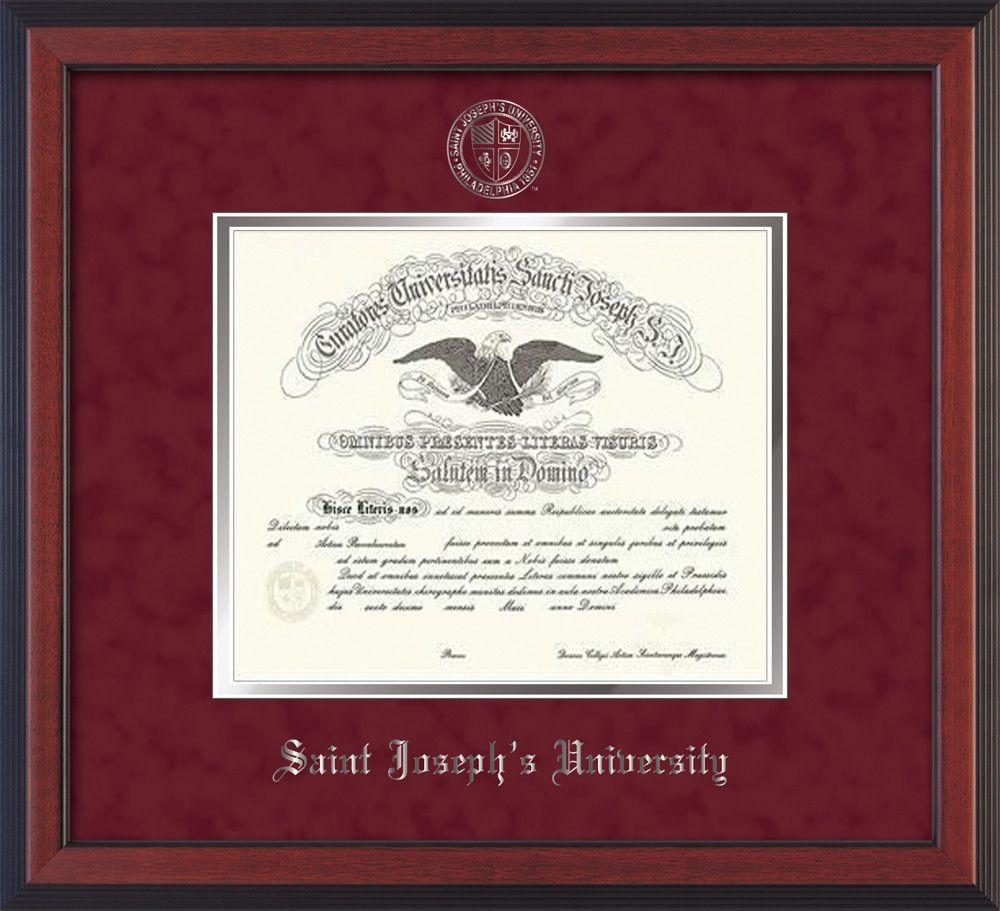 St. Josephs U Diploma Frame-Cherry Reverse-w/SJU Seal-Crimson Suede ...