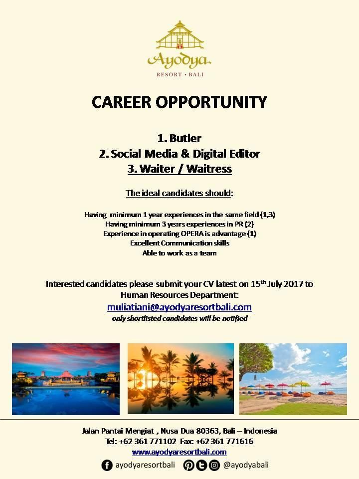 Ayodya Bali  Hotelier Indonesia  Hotels Jobs Info  Hot Jobs