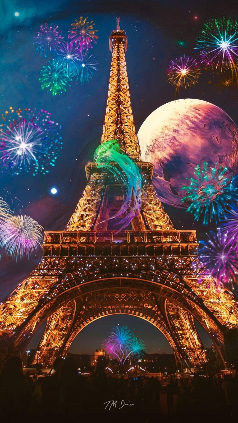 Eiffel Tower Art iPhone Wallpaper, 2020 Iphone duvar