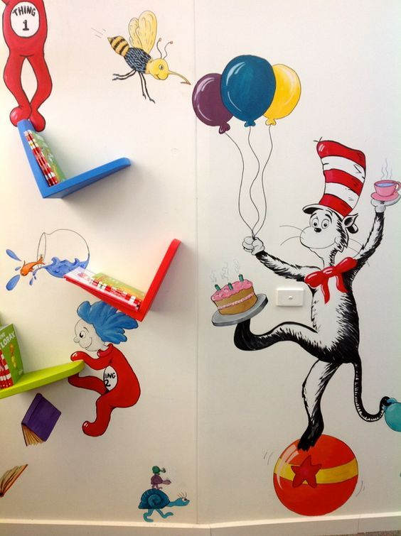 dr seuss wall mural Google Search Play Room Pinterest Wall
