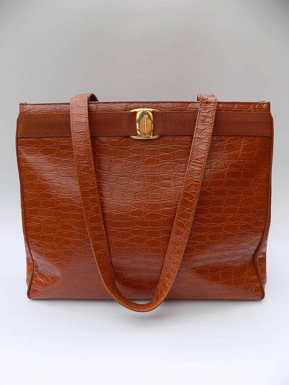SALVATORE FERRAGAMO Vintage Brown   Tan Textured Crocodile Embossed ... e9b3191f30
