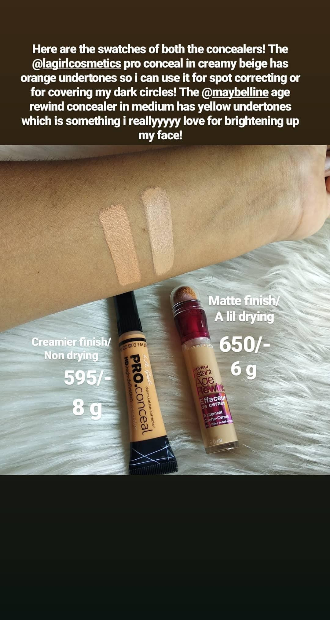 Swatches of LA girl pro conceal in creamy beige