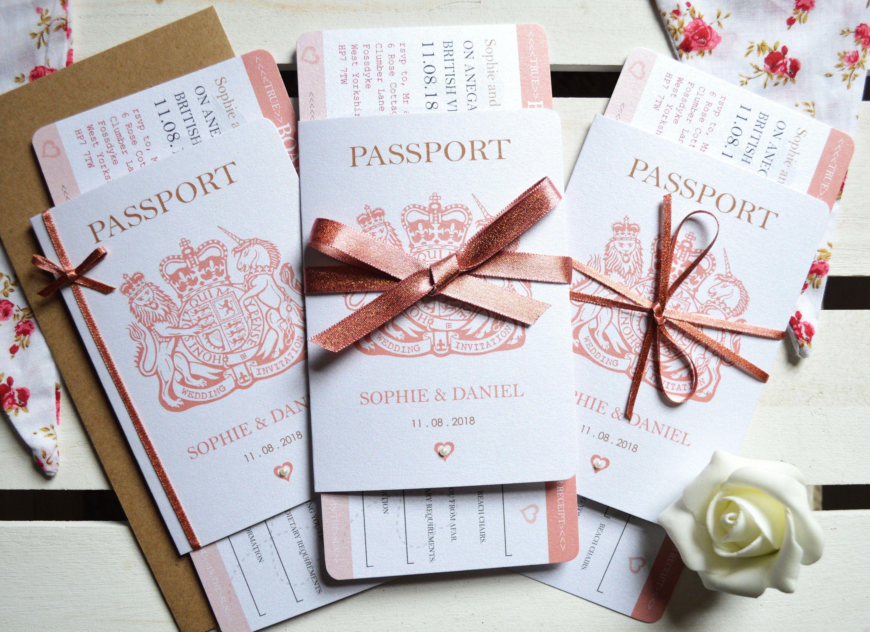 Rose Gold Sparkle Passport Wedding Invitation SAMPLE