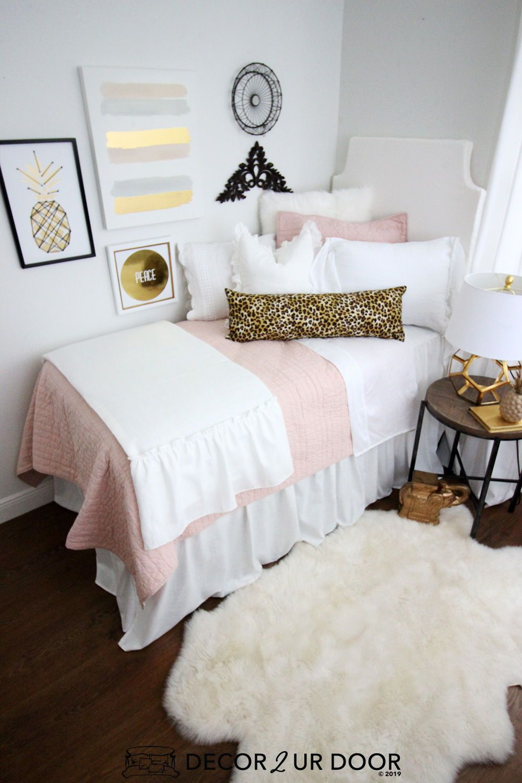 Blush Cheetah Print Dorm Bedding Set Dorm Bedding Sets Pink Dorm Rooms Designer Dorm Bedding