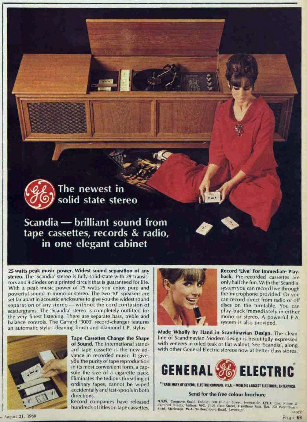 GENERAL ELECTRIC GE vintage stereo / radio magazine ads