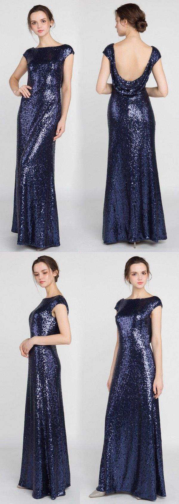Metallic sequined navy long bridesmaid dress with cowl back tbqp
