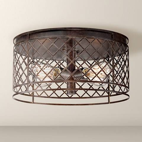 Bring distinctive industrial style lighting to your home with this handsome bronze ceiling light from franklin iron works