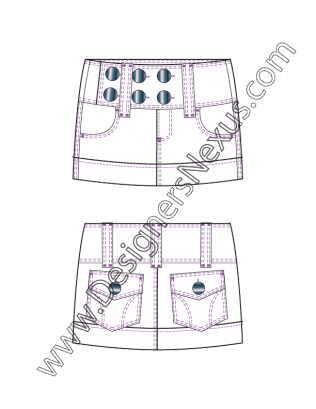 001 Garment Flat Sketch Micro Mini Skirt Wide Waistband Free Download And More Flat Fashion Sketches In Illustrat Micro Miniskirt Fashion Flats Flat Sketches
