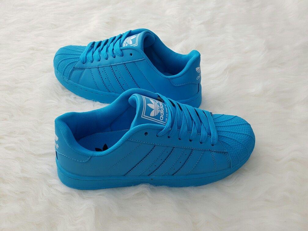 Sepatu Adidas Superstar All Color Blue Sky Uk 41 43 44 150rb