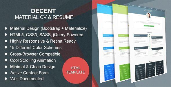Decent v20 - Material CV   Resume -    themekeeper item - resume site
