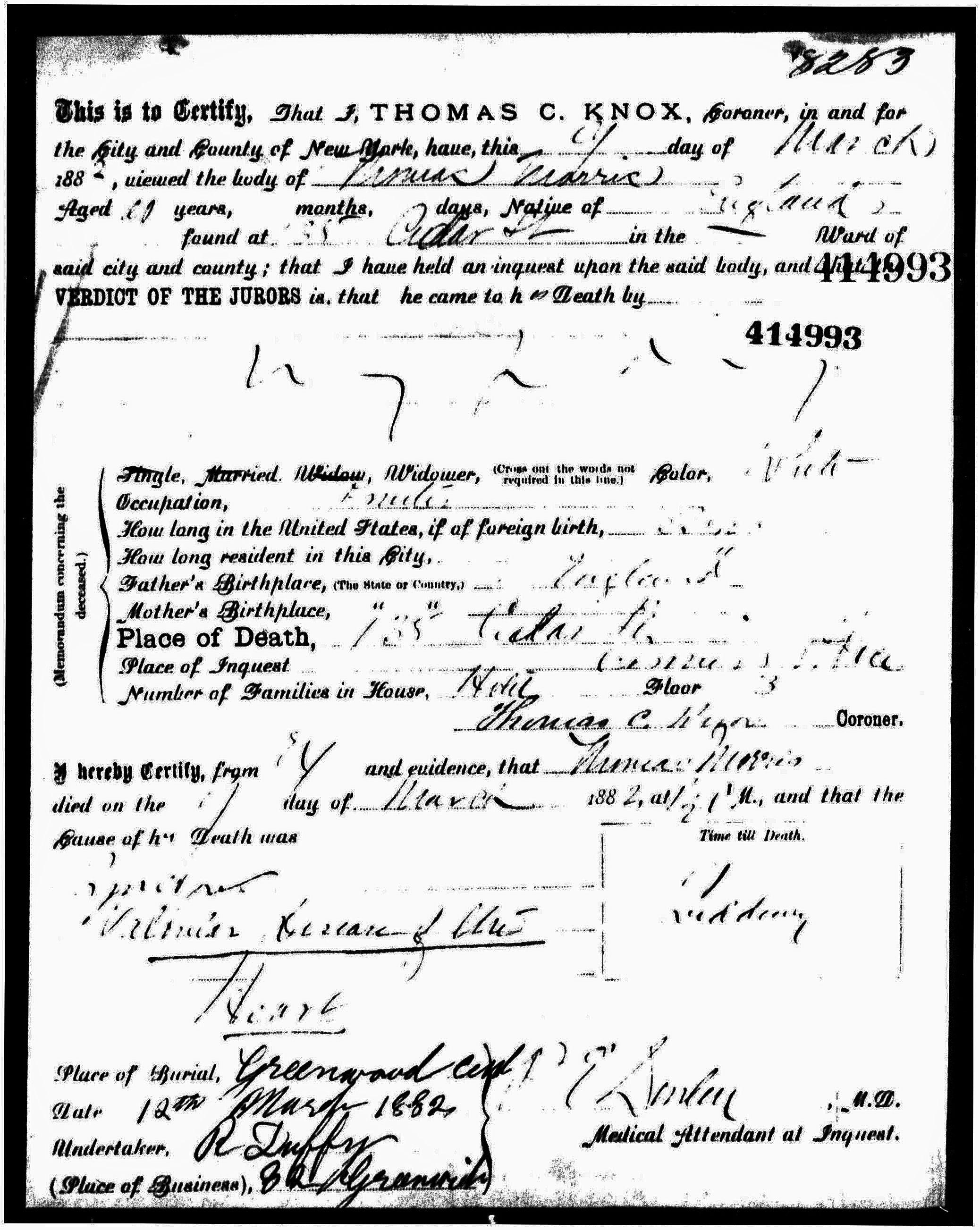 Thomas Morris Death Certificate Manhattan New York County Ny