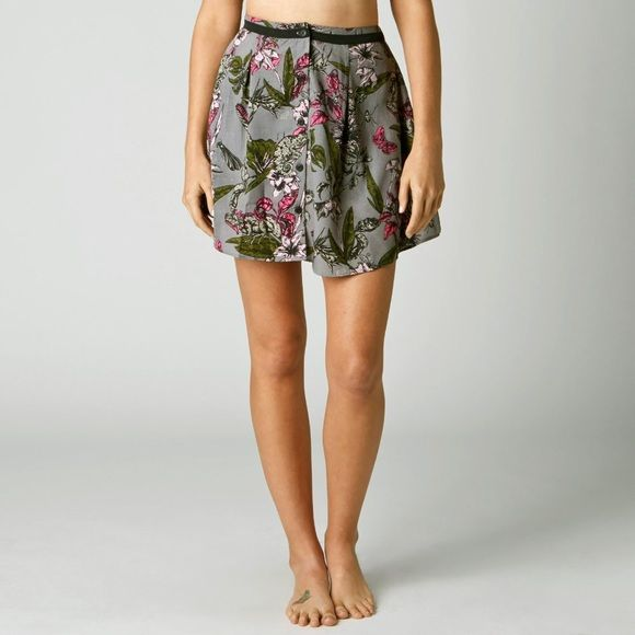 Fox Exotic Skirt Brand new with tags! Button front detail and elastic band. Says xs but can fit a small comfortably. Purple and gray and pink and black in color. Flower and insect pattern. Fox Skirts