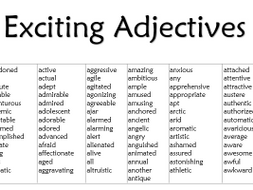 Exciting Adjectives List Teaching Resources Adjective Words Adjectives List Of Adjectives