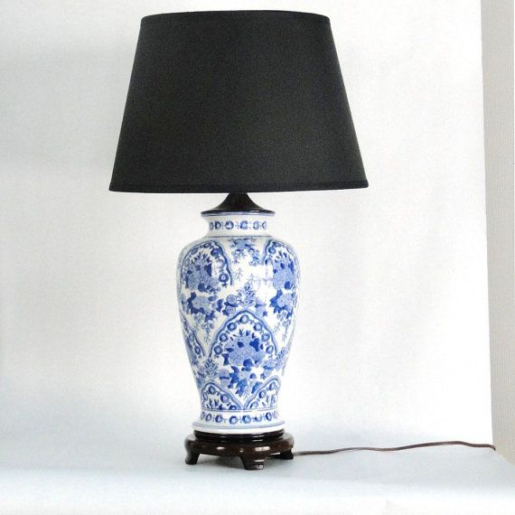 Vintage Wedgewood Lamp Ginger Jar Blue White Porcelain Chinoiserie Floral Wooden Rosewood Bowed Footed Base Blue And White Lamp Lamp White Lamp