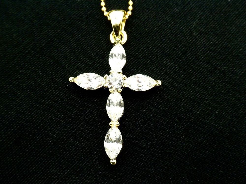 Women Round Crystal Silver Plated Cross Pendant Choker Necklace Chain Jewelry