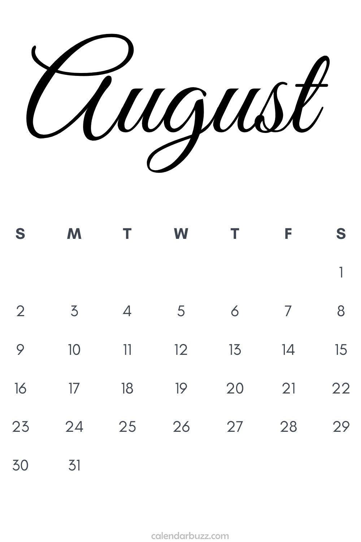 Editable August 2020 Blank calendar printable template