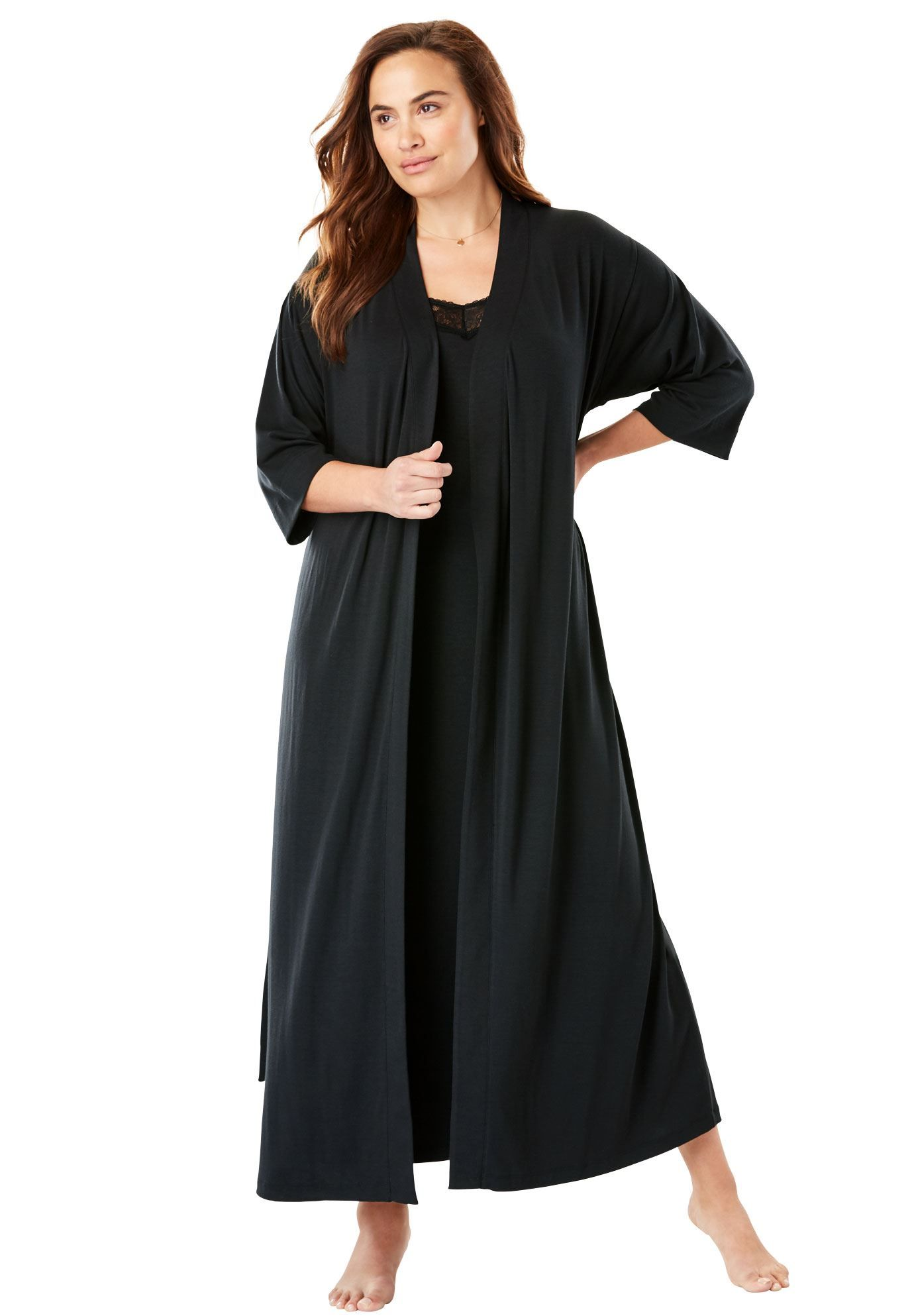 Lace Trim Long Nightgown Robe Set Womens Plus Size Clothing