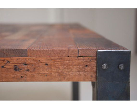 Bold Simplicity Mt Shasta Reclaimed Wood and Iron Dining Table