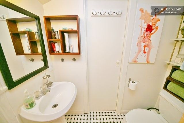 Chaplin Historic Loft Cottage Cabin in Los Angeles Peach and Green Bathroom! Adore!