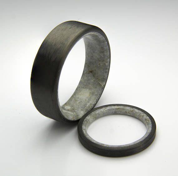 Black Ring Carbon Fiber Ring With Real Natural Marble Etsy Mens Carbon Fiber Wedding Ring Black Rings Carbon Wedding Ring