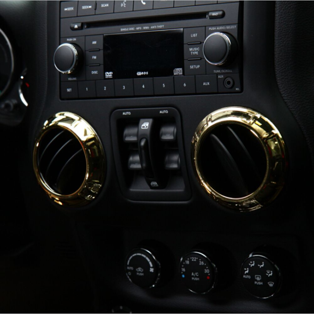 Interior Accessories Gold Abs For Jeep Wrangler Front Dashboad Console Air Conditioning Vent Decorative Cover Trim S Interior Accessories Decorative Cover Jeep