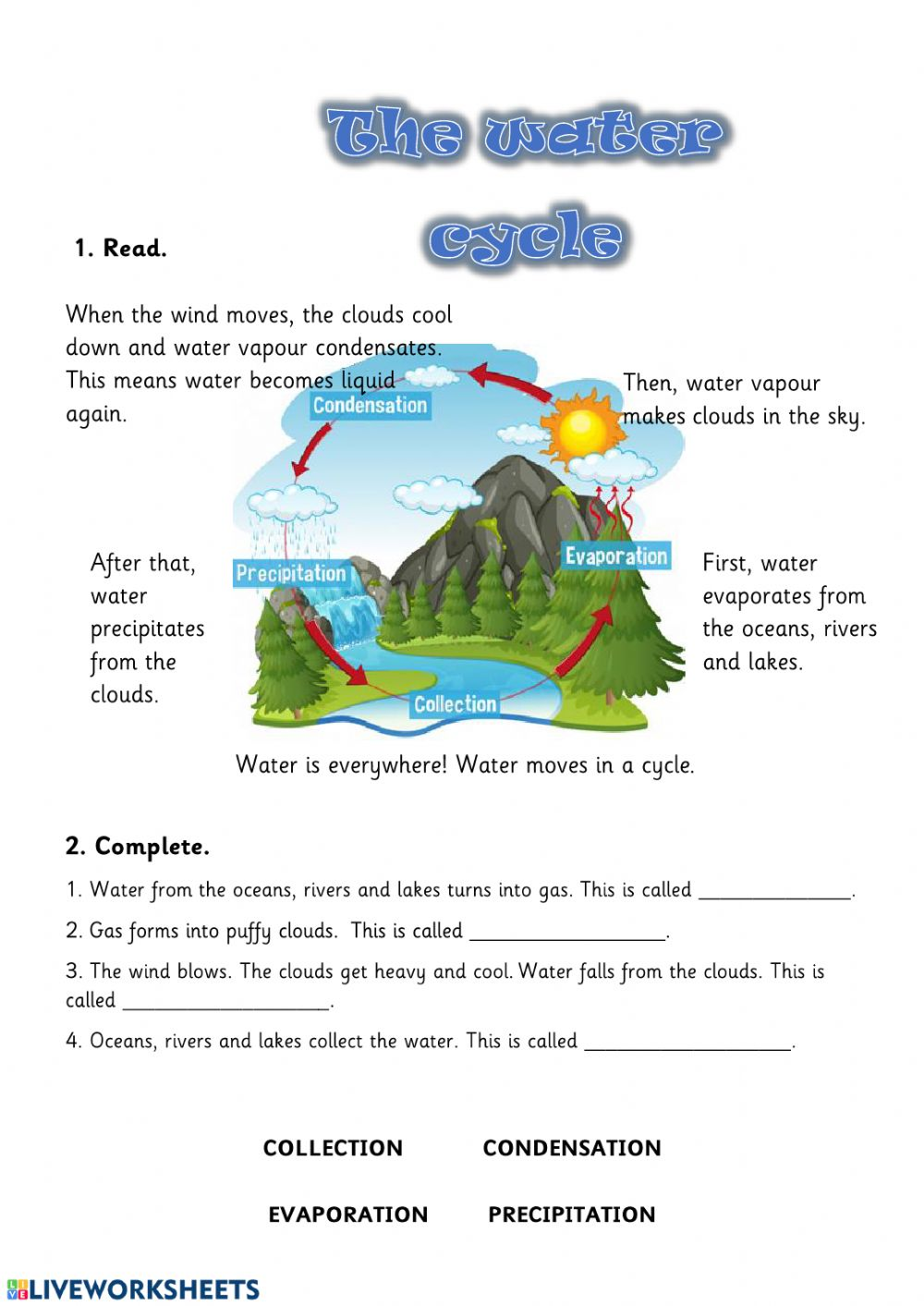 The Water Cycle online exercise for 4. You can do the exercises online or  download the worksheet as pdf.   Water cycle [ 1413 x 1000 Pixel ]