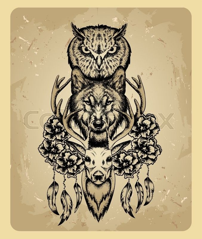 Stock Vector Of Owl Wolf And Deer In The Style Of Tattoo Deer Tattoo Totem Tattoo Animal Tattoos
