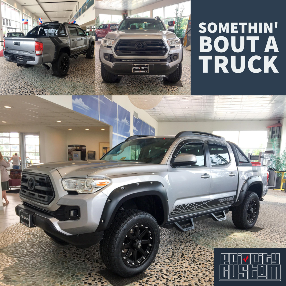 It S Priority Custom Friday And Check Out This 2017 Tacoma In Silver Sky Metallic With Pin Striping Graphics Black Kit Magnum Rt Steps