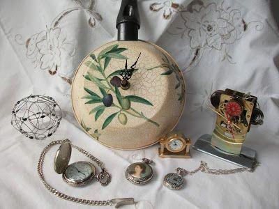 Reciclar sartenes viejas como reloj ideas para reciclar y decorar pinterest decoupage and - Decoracion vintage reciclado ...