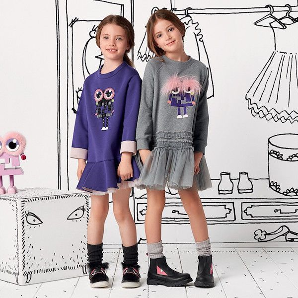 5bbed37718ee81 Shop FENDI Girls Purple Monster Dress. Adorable Outfit for Girls that will  Put a Smile on Her Face. Designed by Famous Italian Fashion House Ships  Worldwide