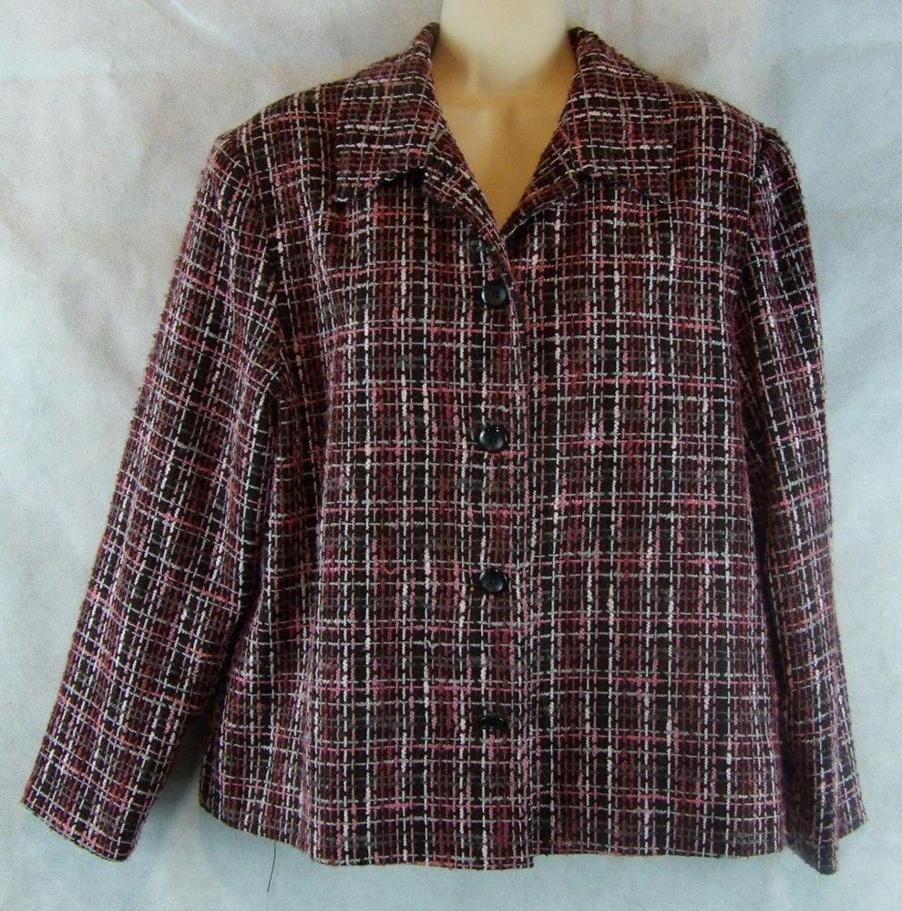 Briggs new york womens size pl pinks button up jacket