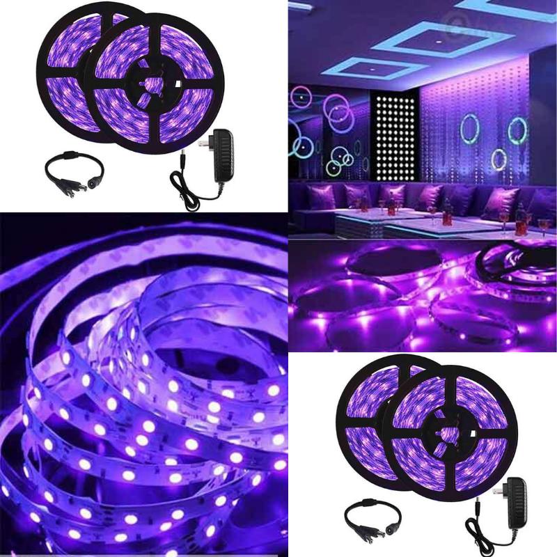 12v Flexible Blacklight Fixtures Non Waterproof For Indoor Fluorescent Dance Party Uv Black Light Strip Lighting Tape Lights