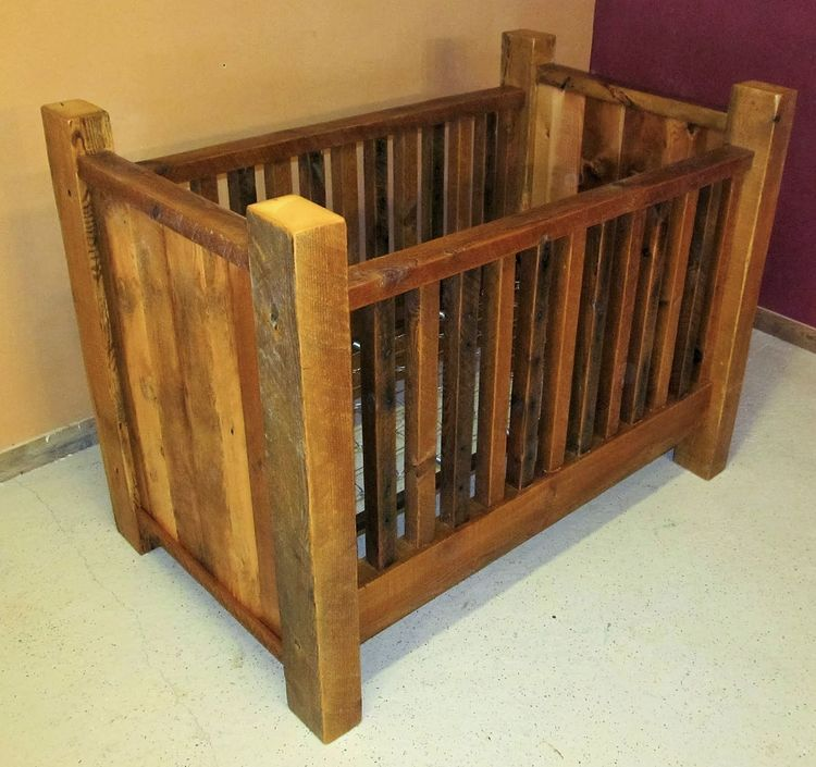 Rustic Barn Wood Baby Crib With Thick Posts In 2020 Rustic Crib Rustic Baby Cribs Baby Cribs
