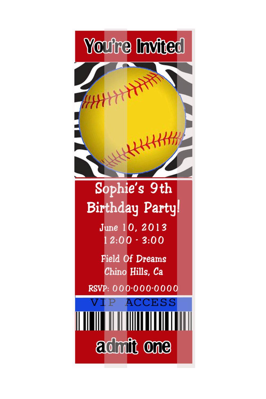 Custom Softball Birthday Invitations | Inviview.co