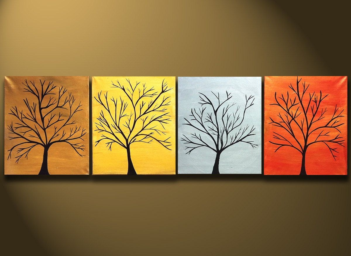 Large Tree Painting for Sale Four Canvases Modern Abstract Art ...