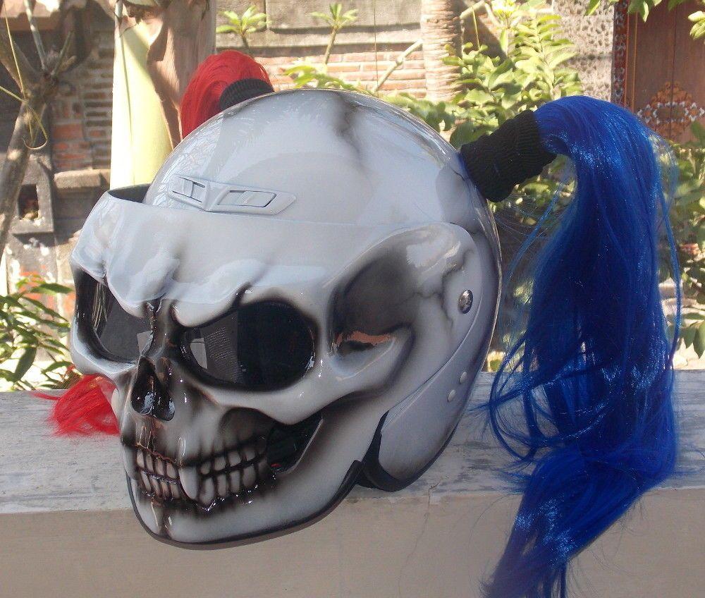 Custom Motorcycle Helmet Skull Dot Girls Helmet Cute Ponytails