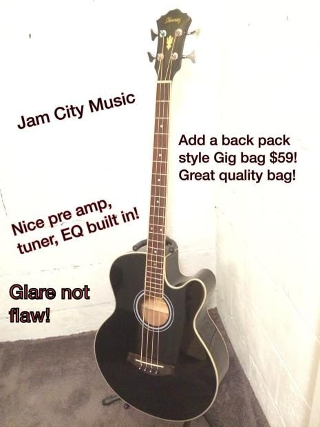 Ibanez Aeb5e Black Acoustic Electric Bass Guitar Built In Tuner Pre Amp Eq Jam City Music Reverb Acoustic Electric Electric Bass Bass Guitar