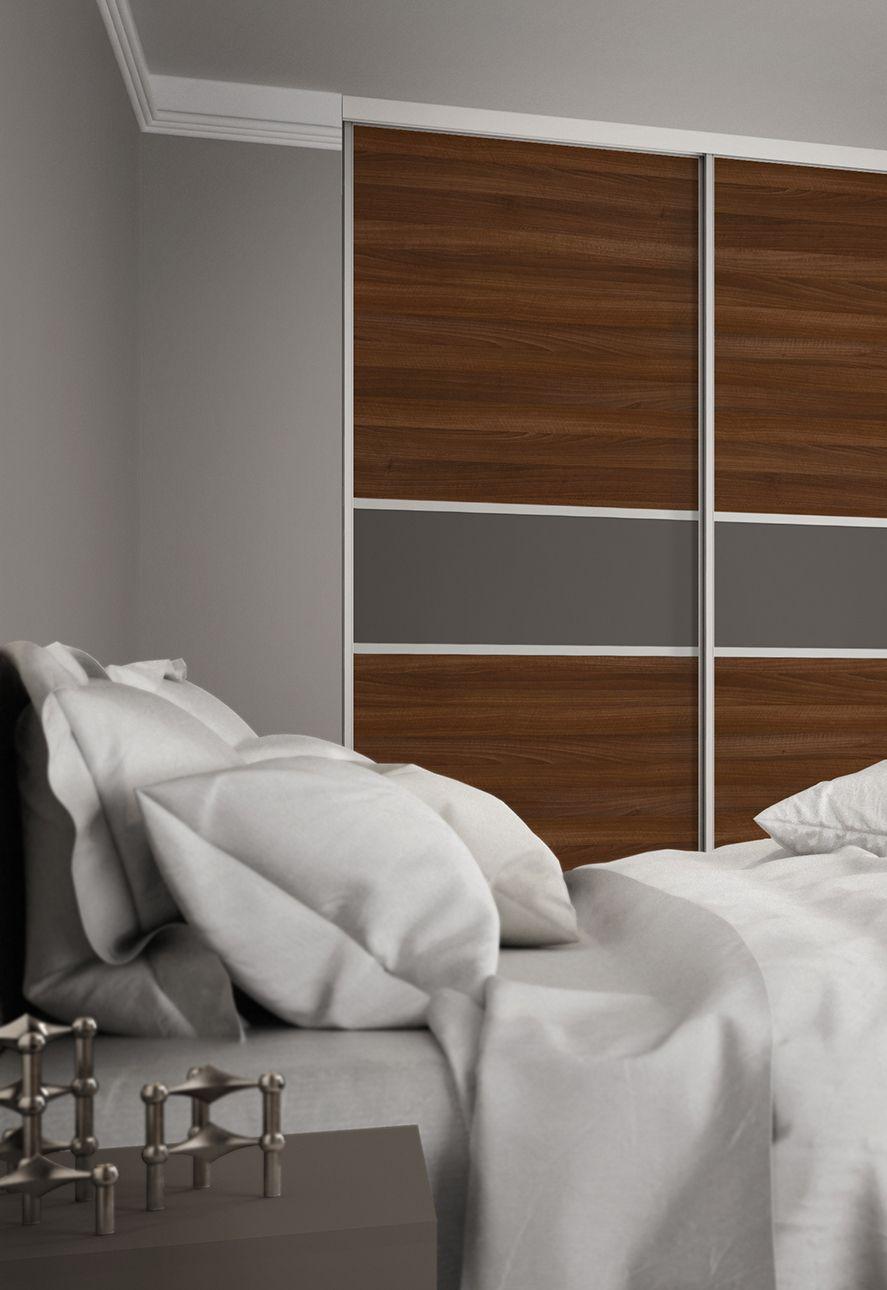 3 panel mirrored sliding closet doors - Premium Midi 3 Panel Fineline Sliding Wardrobe Doors In Walnut And Grey Mirror With Satin Silver
