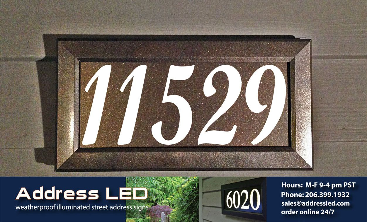 Address led illuminated address numbers using a bronze metallic frame dark bronze background and script