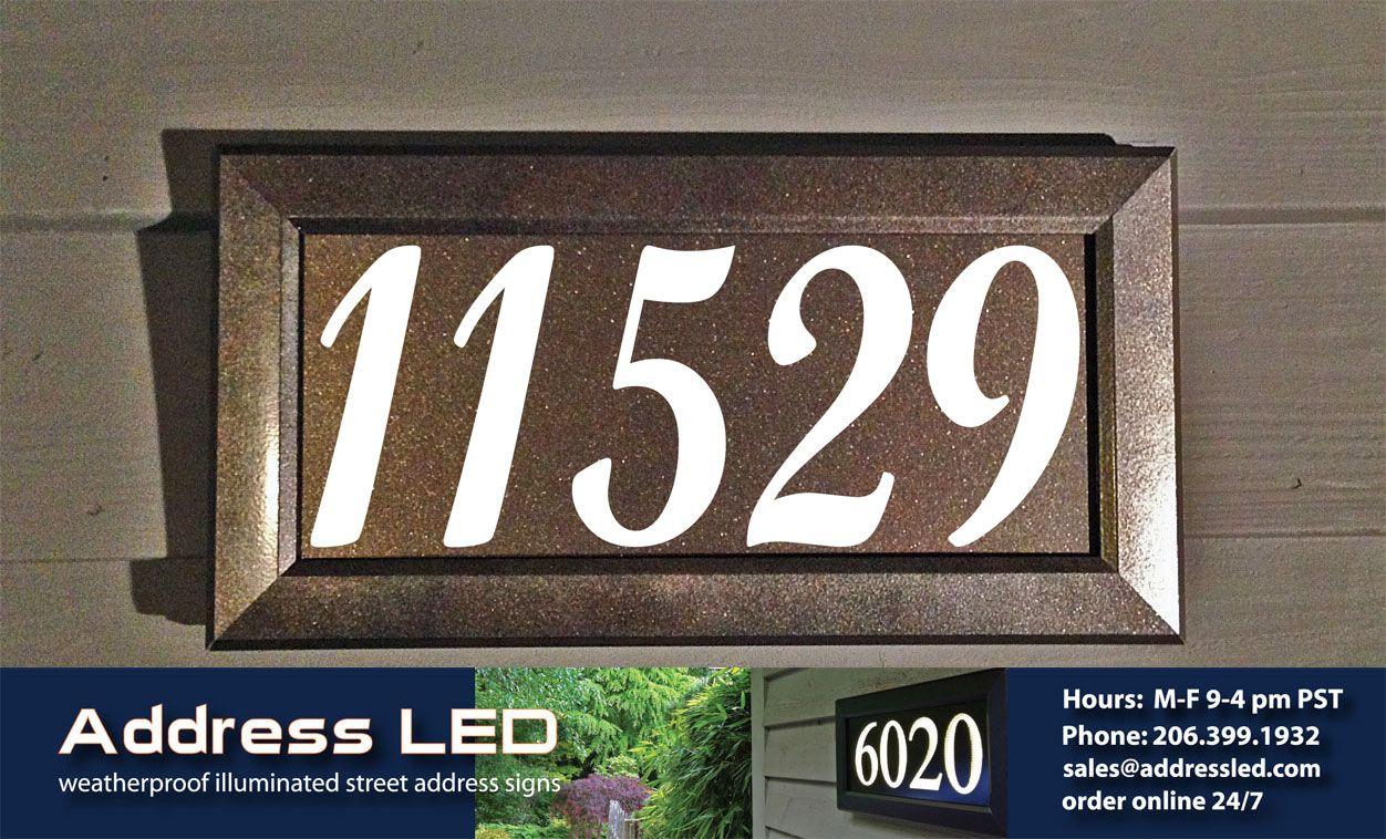 Address Led Illuminated Address Numbers Using A Bronze Metallic